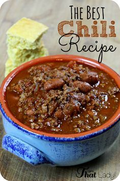 The Best Chili Recipe This easy chili recipe is the best one out there! It is a unique blend of cincinatti and traditional chill and has won MANY chili cookies! Best Chili Recipe, Chilli Recipes, Beef Recipes, Mexican Food Recipes, Soup Recipes, Cooking Recipes, Easy Recipes, Cooking Bacon, Cooking Games