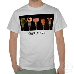Network you restaurant with this chef uniform shirt. Personalize the text with your contact information and house specialties. Use the picture shown or upload your logo. This shirt was designed from photograph of food groups on Oneida dinner forks: $20.65  discounts on 11+ shirts
