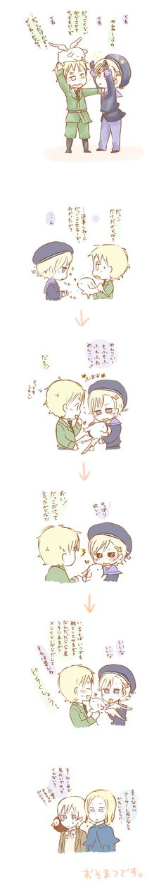 Tags: Anime, Rabbit, Axis Powers: Hetalia, France, United Kingdom, Sparkles, Norway