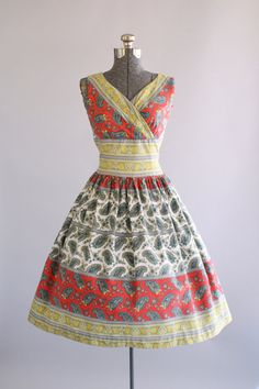 Vintage 1950s Dress / 50s Cotton Dress / Red and Yellow Paisley Print Dress w/ Shelf Bust S/M