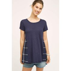 Eri + Ali Paned Pocket Tee ($58) ❤ liked on Polyvore featuring tops, t-shirts, blue motif, pocket t shirt, blue t shirt, pocket tee, pocket tops and blue pocket t shirt