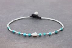 Turquoise Pearl Silver Minimal Anklet