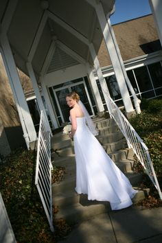 Bride at the entrance to Unity of Garden Park.
