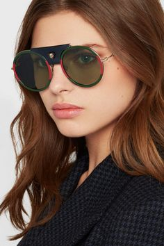 7e63ef720a4a1 Gucci - Round-frame striped acetate and textured-leather sunglasses