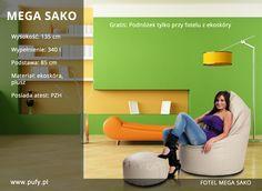 Mega Sako, to jeden z najbardziej komfortowych foteli dostępnych w naszej kolekcji. Fotel ten dzięki wysokiej jakości materiałów z których został wykonany oraz swoim wymiarom idealnie nadaje się do wypoczynku. Oferowany jest w 20 kolorach ekoskóry oraz 16 odcieniach pluszu. Polecamy go w szczególności dla: - kobiet w ciąży i po porodzie, - osób prowadzących aktywny tryb życia, - uczniów i studentów, - osób w okresie rekonwalescencji, - osób skarżących sie na ból kręgosłupa,