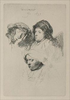 Três cabeças de mulher, uma a dormir. Gravura, 1637