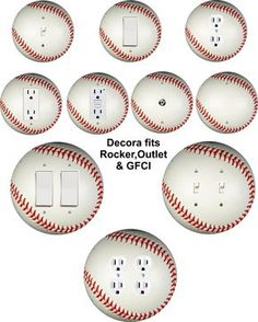 Details about Coloriffic Baseball wall plate Toggle Light Switch,Outlet,Decora ,double cover - Gamer House Ideas 2019 - 2020 Baseball Nursery, Baseball Wall, Baseball Stuff, Baseball Bathroom Decor, Boys Baseball Bedroom, Sports Bathroom, Baseball Tips, Baseball Crafts, Baseball Party