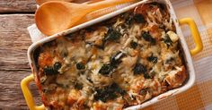 Spinach and Chicken Bake With Croutons
