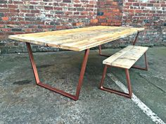 Reclaimed Industrial Chic 8-10 Seater Solid Wood and Copper Metal Frame Dining…