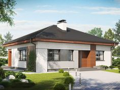 Compact bungalow with three bedrooms Thing 1, Design Case, Bungalow, Gazebo, House Plans, Exterior, Outdoor Structures, House Design, How To Plan