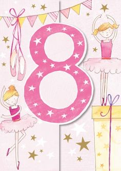 Ling Design Ballet Eighth Birthday Card Birthday Wishes For Kids, Birthday Clips, Happy 2nd Birthday, Art Birthday, Happy Birthday Images, Happy Birthday Quotes, Happy Birthday Greetings, Birthday Messages, Happy B Day Images
