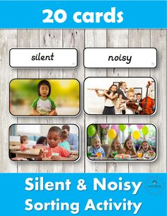 20 Silent & Noisy Cards to Help The Process of Normalization in a Montessori Classroom. Sorting Activities, Montessori Activities, Hands On Activities, Preschool Activities, Work Activities, Montessori Materials, Montessori Classroom, Montessori Toddler, Toddler Preschool