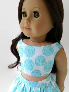 American Girl Doll Clothes Turquoise and White by 18Boutique