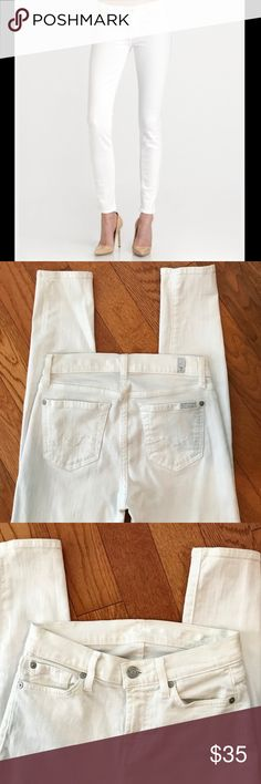 7 For All Mankind White Skinny Jeans 7 For All Mankind White Stretch Skinny Jeans Size 24/ Excellent Condition (worn/washed a few times) 7 For All Mankind Jeans Skinny