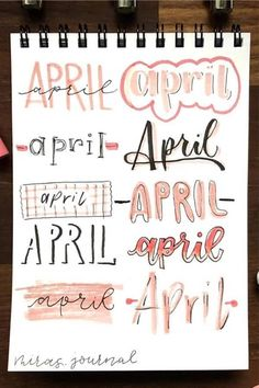 If you need help starting out your spreads and layouts for the month, then check out these super cute bullet journal april headers for inspriation! Bullet Journal Paper, April Bullet Journal, Bullet Journal Headers, Bullet Journal Lettering Ideas, Bullet Journal Notebook, Bullet Journal School, Bullet Journal Ideas Pages, Bullet Journal Inspiration, Journal Fonts