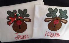 Boutique Personalized Christmas Reindeer Tshirt long or short sleeve 2t thru 12. $17.00, via Etsy.