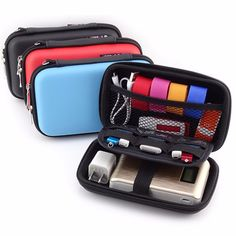 2.5'' Portable Women Digital Storage Bag Men PU Leather Power Bank Bag - Newchic Mobile.
