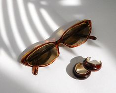 Gift, vtg earrings, vintage sunglasses, gold hoops, Half cat eye sunglasses, gift set, mini cat eye shades, 50s tortoise shell, 80s hoops