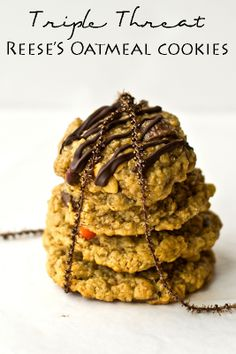 Triple Threat Reese's Oatmeal Cookies on MyRecipeMagic.com