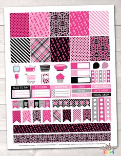 Girls Night Out Pink Printable Planner Stickers Weekly Kit – Instant Download PDF for your Erin Condren Life Planner
