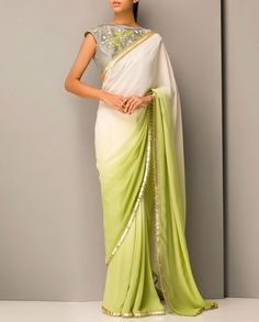 Ombre Mint Green and Ivory Sari