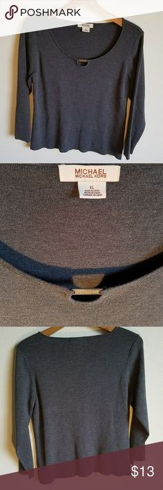 MICHAEL Michael kors womens grey sweater shirt Good used condition.  Gray sweater worth silver piece  on front that says Micheal kors MICHAEL Michael Kors Tops
