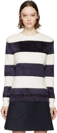 A.P.C. Ivory & Navy Striped Ellie Sweater
