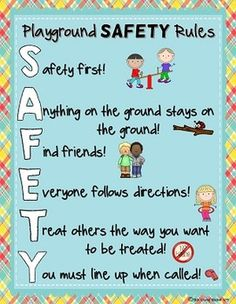 Community Helpers Preschool Discover Playground and Recess SAFETY Rules Posters Playground and Recess SAFETY Rules Posters Playground Rules, Playground Safety, Preschool Playground, Classroom Rules, Preschool Classroom, In Kindergarten, Preschool Activities, Preschool Rules, Preschool Assessment