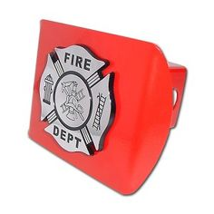 """Firefighter Chrome & Black on Red Hitch Cover. Made in the USA. A step above in quality and appearance. Hitch Covers Front plate 5 x 3.5 Fits standard 2"""" trailer hitch receivers. Made from all metal, Elektroplate's high-end hitch covers are regarded by many consumers as the nicest on the market."""