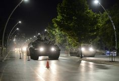 Turkish armoured unit during attempted military coup, 07/2016.