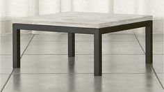 Considered the idea of 2 square coffee tables. Parsons Square Coffee Table with Travertine Top | Crate and Barrel