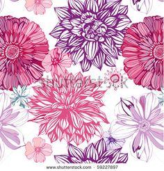 Ook deze afbeelding is als schilderij te bestellen bij Magneetschilderij.nl. Seamless pattern with pink asters and dahlia by UyUy, via Shutterstock