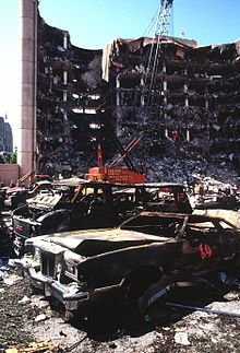 Oklahoma City bombing April19, 1995. Claimed 168 lives, including 19 children under the age of 6 (I remember I was watching some kids show on TV when it switched LIVE to the site of the bombing)