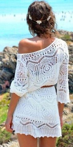 #summer #seaside #outfits |  Bathing Suit Lace Crochet Hollow Beach Dress Bikini Cover Up Sunblock V Neck…