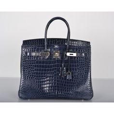 Hermes Blue Abysse Porosus Crocodile 35cm Birkin Bag Palladium Hardware    $82,500