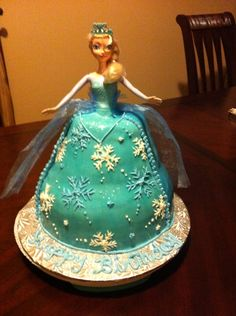 Elsa mocha cake with chocolate buttercream .