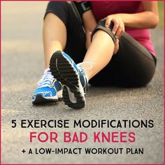 5 Exercise Modifications For Bad Knees and A Low-Impact Workout Plan Suffering from knee pain? Here are the best workout modifications for bad knees and a low-impact strength and cardio workout for bad knees. Arthritis Exercises, Knee Exercises, Knee Stretches, Knee Arthritis, Compound Exercises, Rheumatoid Arthritis, Hiit, Fun Workouts, At Home Workouts