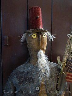 Primitive Patriotic Americana Folk Art Uncle Sam