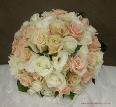 Pink, Peach & White Roses, Spray Roses, White Lisianthus, Green Rose Foliage Wedding Bouquet >>>>