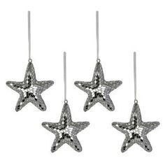 Set d'étoiles en mirroirs à suspendre - Objets de décoration design pour noël - Fait main en Inde - Lot de 4