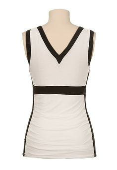 Ruched side v-neck colorblock tank - maurices.com.  I like the royal blue and black one best.