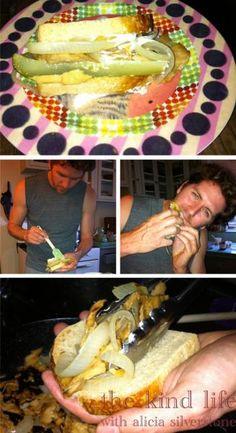 "vegan hot dog  ""dirt dog""    onion, seitan, bbq sauce, pickles, vegenaise, mustard  & bread"