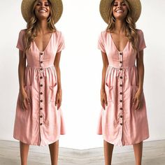 Cheap Dresses, Buy Directly from China Suppliers: 2018 Women's Fashion Summer Short Sleeve V Neck Button Down Swing Midi Dress with Pockets Beach Summer Dress Beautiful Maxi Dresses, Sexy Dresses, Short Sleeve Dresses, Summer Dresses, Cheap Dresses, Swing Dress With Pockets, Striped One Piece, Leather Dresses, Women Sleeve