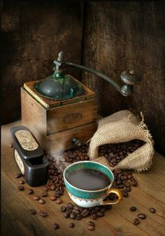 Coffee, coffee beans and grinder