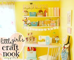 Repinned from Judi Robinson.  little girls craft nook...adorable!