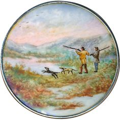 Button--19th C. Hand-painted Enamel Sporting Scene in Sterling from rclarner on Ruby Lane