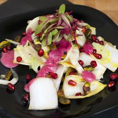 Fennel and Endive Salad with Pomegranates and Pistachios with pomegranate foam