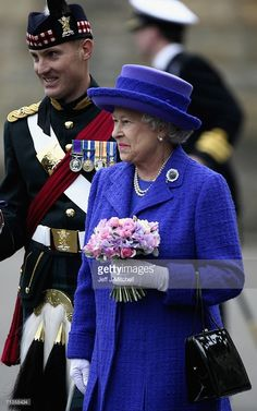 Queen Elizabeth II inspects The Royal Regiment of Scotland during the…