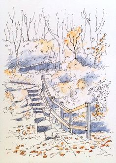 A discovered path and steps in Canal Gardens at Roundhay Park, Leeds on an autumn day~ sketch ~ John Edwards