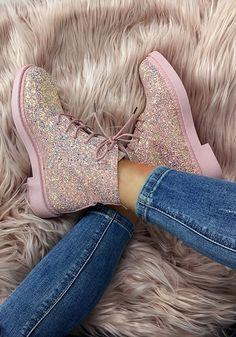 96f86bb1ef0a1b Rosa Pailletten Glitzer Runder Zeh Schnürung Flache Mode Martin Stiefel  Elegantes Damen Schuhe Short Ankle Boots